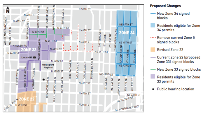 Proposed RPZ changes in Wallingford. (City of Seattle)