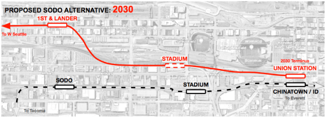 Conceptual alternative West Seattle alignment and station locations in 2030.
