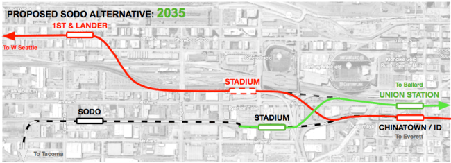 Conceptual alternative West Seattle alignment and station locations integrated with the Ballard extension in 2035.