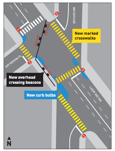 New design of the Leary Ave NW at 20th Ave NW. (City of Seattle)
