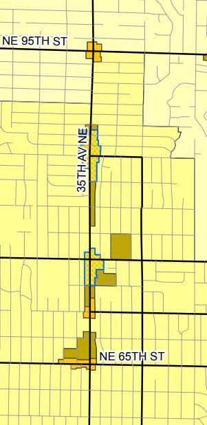 35th ave NE zoning (the yellow ban affordable housing). (City of Seattle)