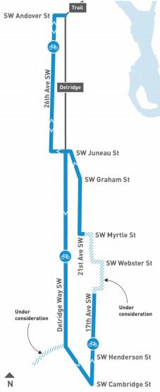 Conceptual corridor-wide bike network. (City of Seattle)