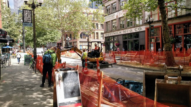 First Avenue utility work continues in Pioneer Square. (Photo by author)