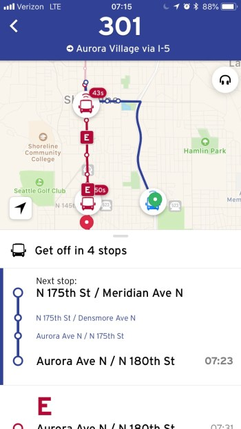 Example of the new real-time data through GO. (Transit)