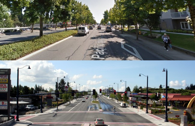 Above: Tukwila's tree lined Highway 99. (via Google Maps); Below: Shoreline's version of Aurora at N 152nd St. (Image from City of Shoreline)