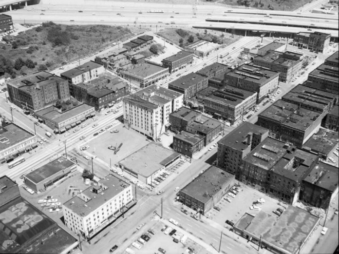 International District Aerial, 1969. (Seattle Municipal Archives)