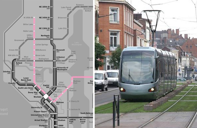 On the left is the conceptual ST4 plan designed by Seattle Subway. (Edited by the Author); On the right is a typical example from Europe showing grass planted street car lane.