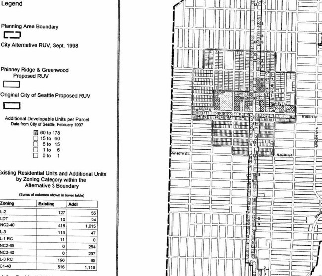 City-proposed Greenwood/Phinney Urban Village boundary versus what could have been. (City of Seattle)