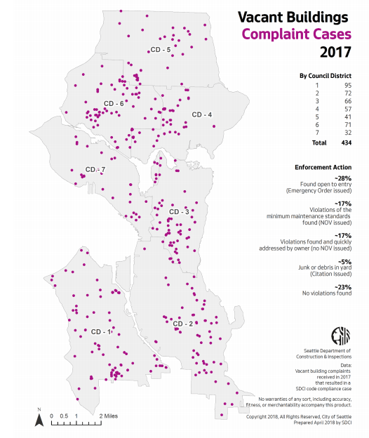 Location of vacant building complaints in 2017. (City of Seattle