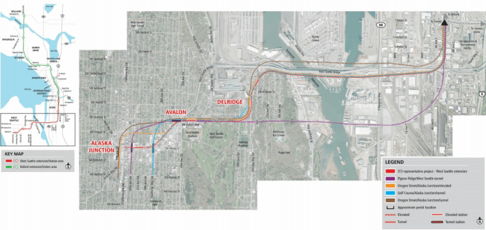 Alternatives for West Seattle. (Sound Transit)