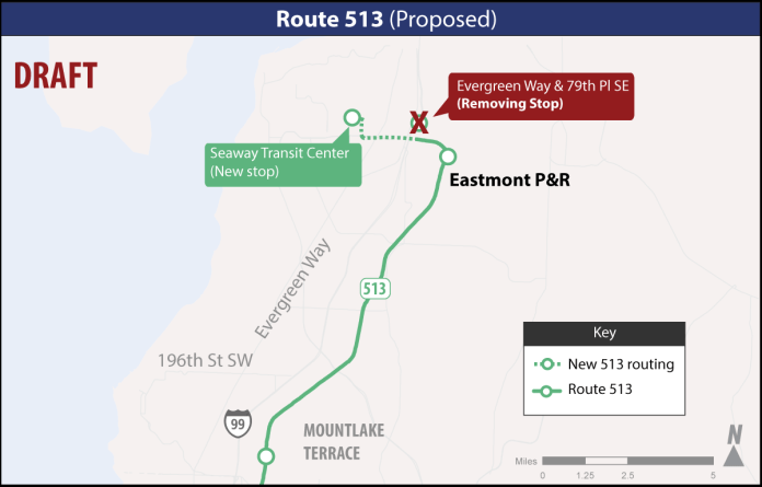 Proposed changes to Route 513. (Sound Transit)