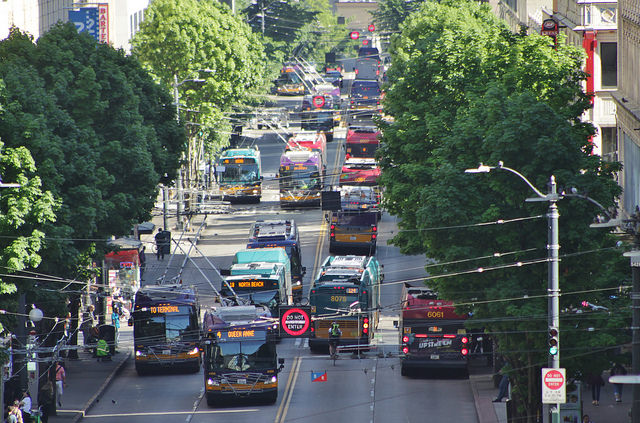 King County Metro buses on Third Avenue during rush hour. (Bruce Englehardt)