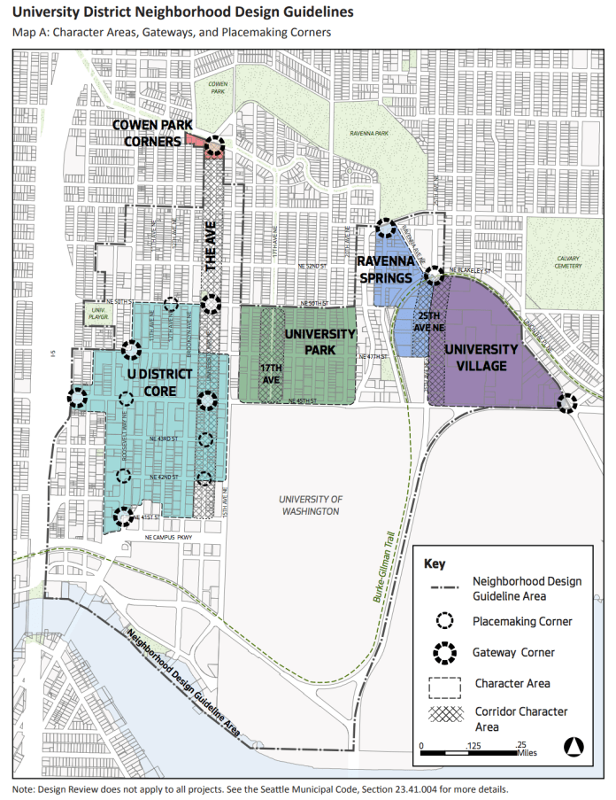 Proposed boundaries of design guideline requirements for the University District. (City of Seattle)