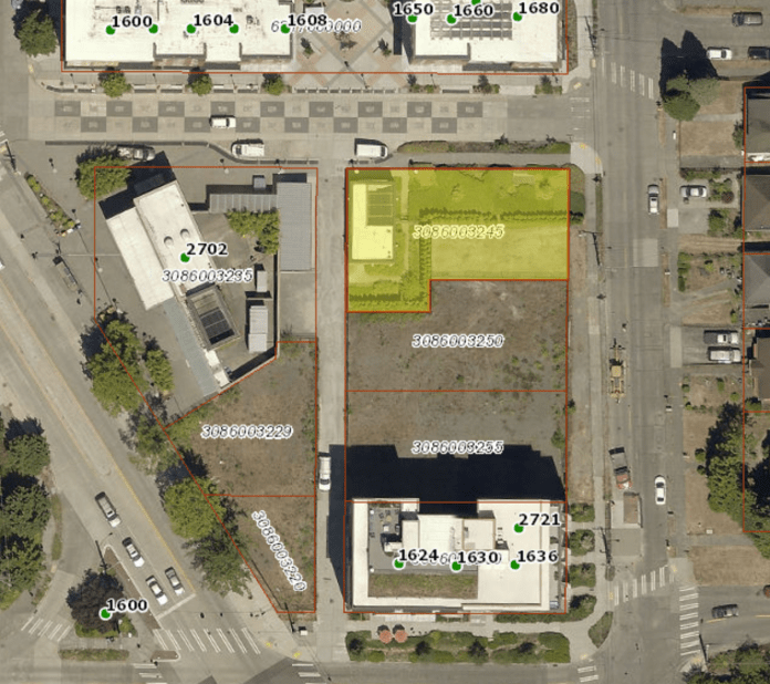 The yellow site is the parcel of land that will be adjusted and partially sold to the developer. (King County)