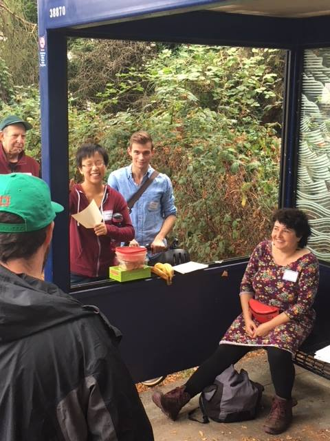 In addition to canvassing, Share The Cities holds community events intended to engage residents in discussions about Jackson Park's future. A previous event included a meetup at a bus stop. Credit: Share The Cities.