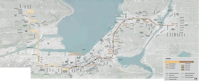 West Seattle Elevated/C-ID 5th Ave/Downtown 6th Ave/Ballard Elevated alternative alignments. (Sound Transit)