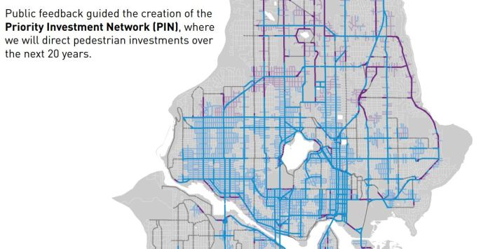 """Missing sidewalks are all too common in North Seattle's District 5. Purple indicates missing sidewalks in the heart of ALUV. Adding """"P"""" (Pedestrian designation) to the land use change will require all new projects on Aurora to prioritize improvements and pedestrian safety. It will also improve the business district's image and walkability. (City of Seattle)"""