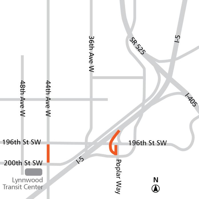 Orange: roadway modifications. (Sound Transit)