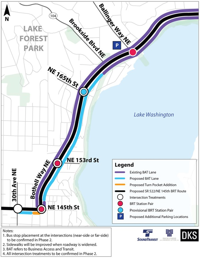 Preliminary corridor improvements and BRT treatments for Lake Forest Park. (Sound Transit)