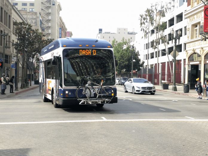 Los Angeles Department of Transportation is adding bike parking and including racks on buses. (Photo credit: LADOT)