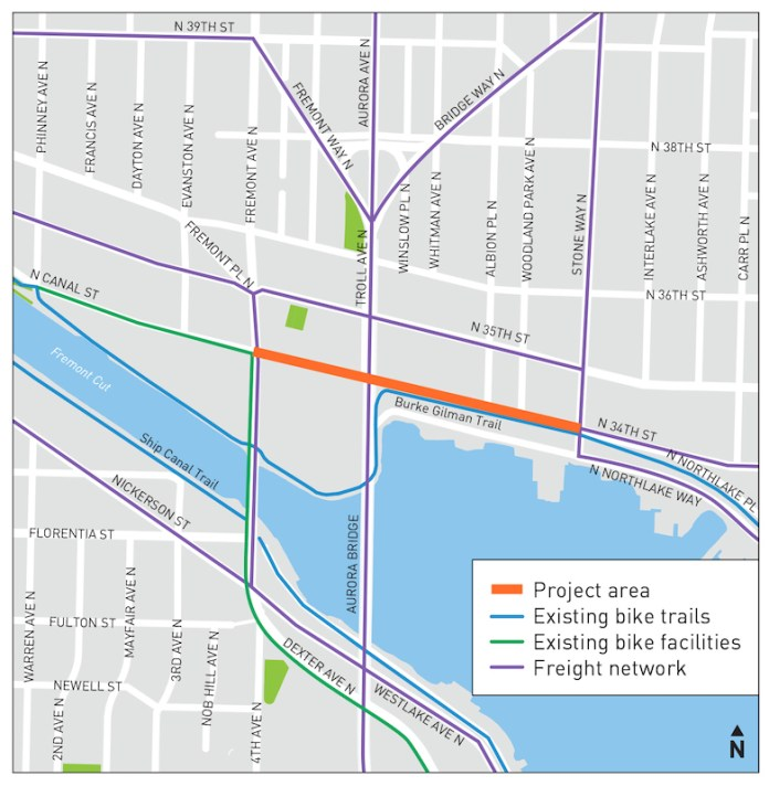 The project area is noted with the orange line. (City of Seattle)