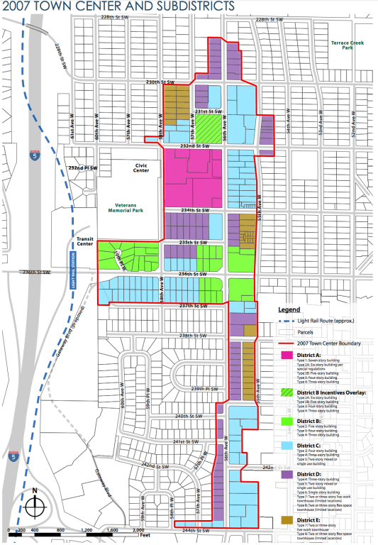 Existing zoning for the Town Center area. (City of Mountlake Terrace)