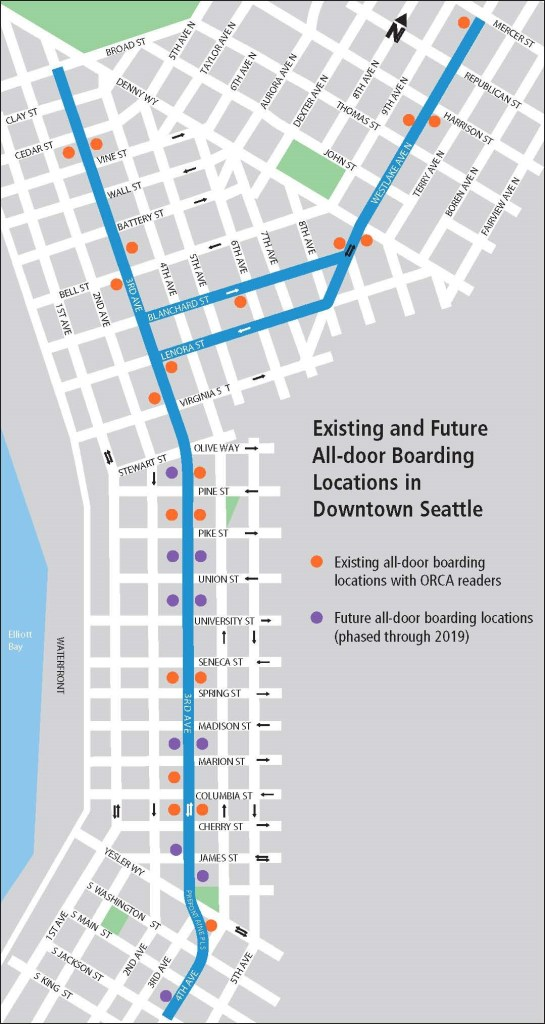 Existing and future all-door boarding locations with ORCA card readers. (City of Seattle)