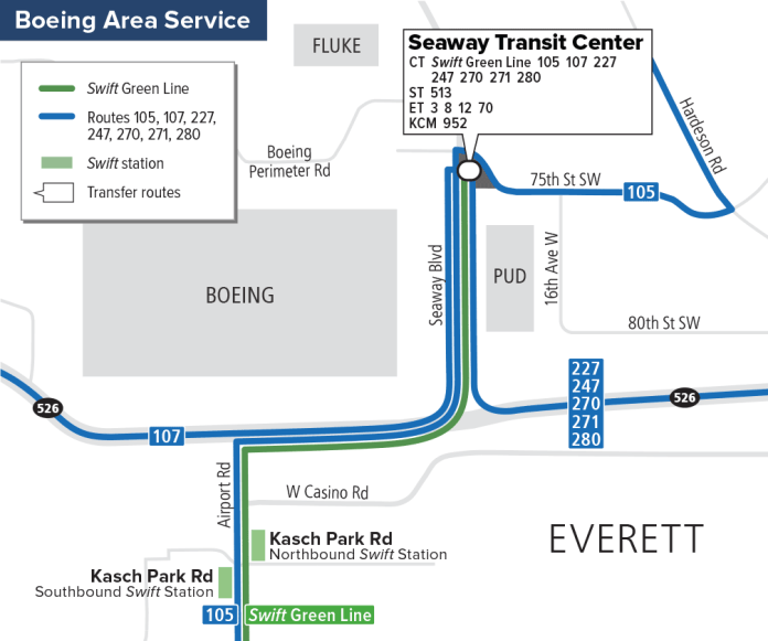 Community Transit's new Seaway Transit Center and local alignments. (Community Transit)