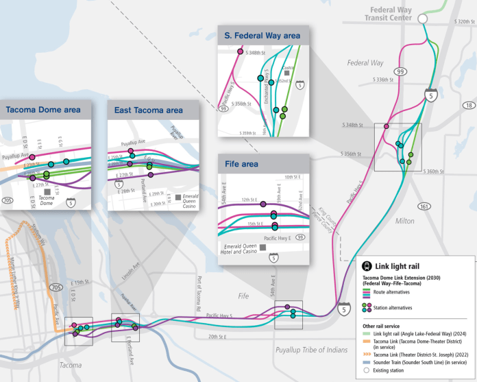 Overview of the route and station options for the Tacoma Dome Link Extension. (Sound Transit)