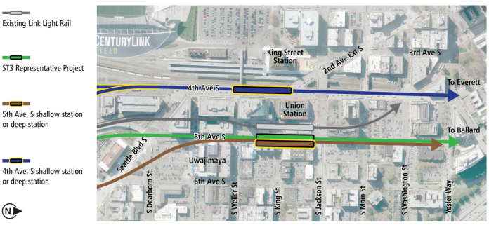 The general options to put a new tunnel and station in Chinatown. (City of Seattle)