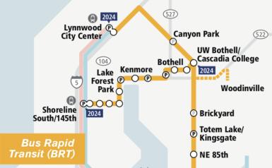 SR-522/145th Street Bus Rapid Ride map. Credit: Sound Transit