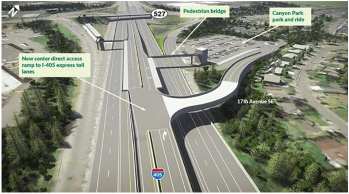 Design concept for the I-405 freeway stop and park-and-ride at Canyon Park. (WSDOT)