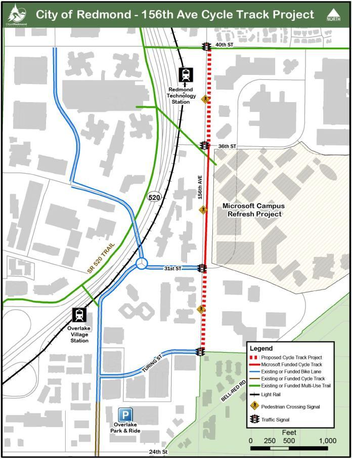 Proposed cycletrack improvement on 156th Ave NE. (Sound Transit / Redmond)