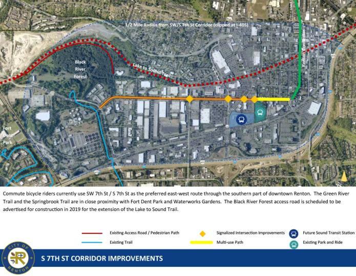 The proposed S 7th St corridor improvements. (Sound Transit / City of Redmond)