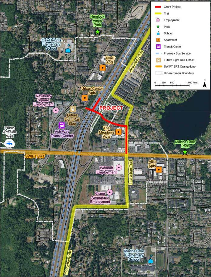 The Ash Way I-5 direct access ramp and crossing would cost $2.5 million and open by 2036. (Sound Transit / Snohomish County)