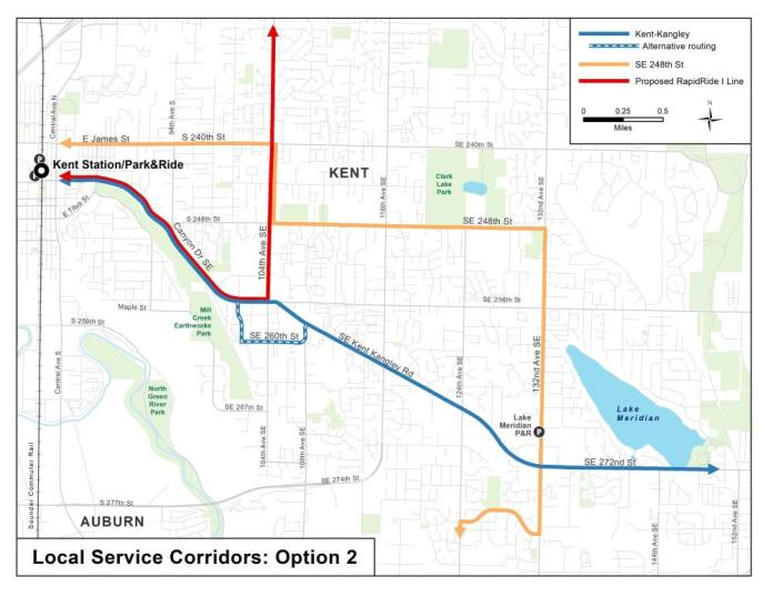 Option 2 for corridor service options in East Hill and Lake Meridian. (King County)