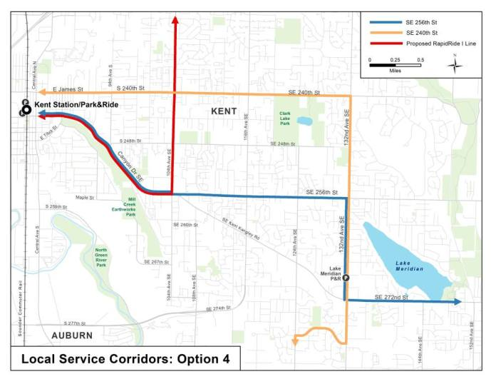 Option 4 for corridor service options in East Hill and Lake Meridian. (King County)
