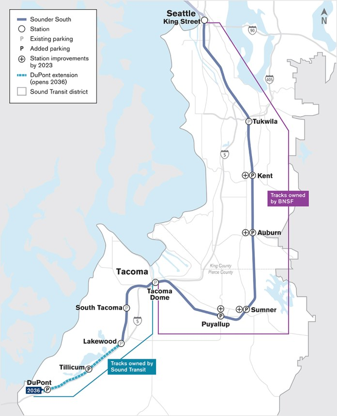 The Sounder South corridor, track ownership, and existing and planned service extent. (Sound Transit)