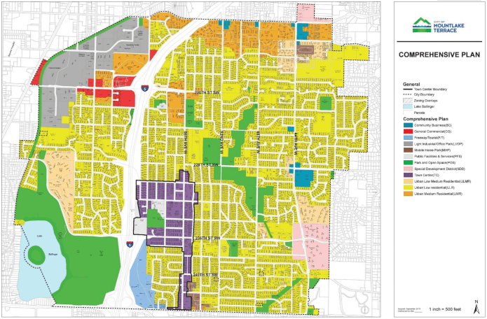 New future land use map for Mountlake Terrace's Comprehensive Plan, which highlights the Town Center area. (City of Mountlake Terrace)
