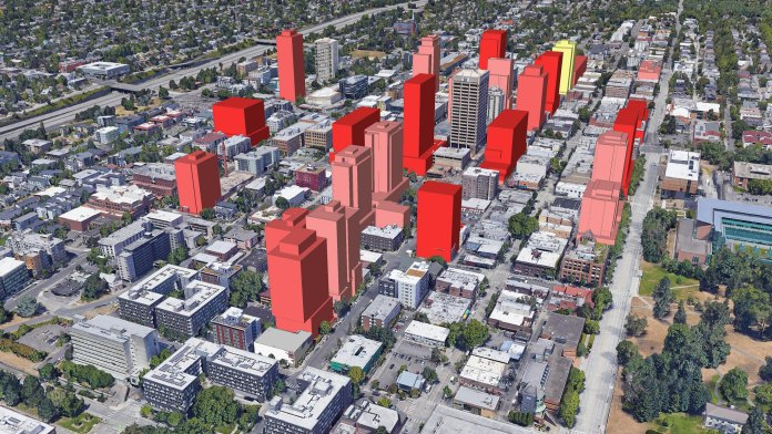 If highrise projects in the pipeline (or at least rumored) are built, the U District skyline will be shaped something like this. (Credit: David Boynton)