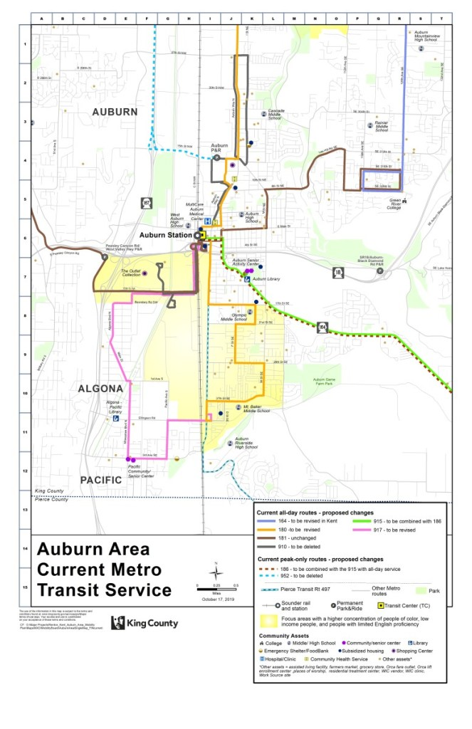 Existing Auburn bus route network. (King County)