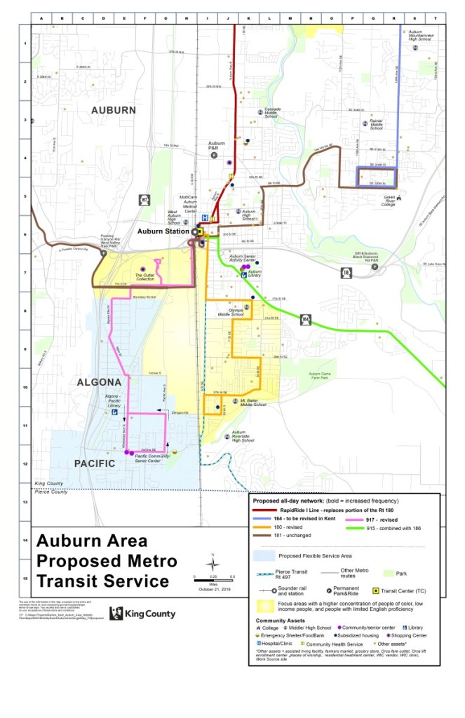 Proposed Auburn bus route restructure. (King County)