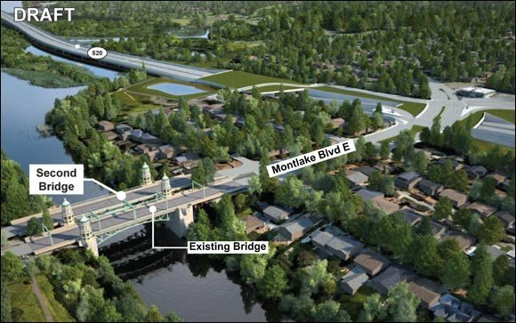 An aerial image shows a second bascule bridge next to the existing Montlake Bridge.