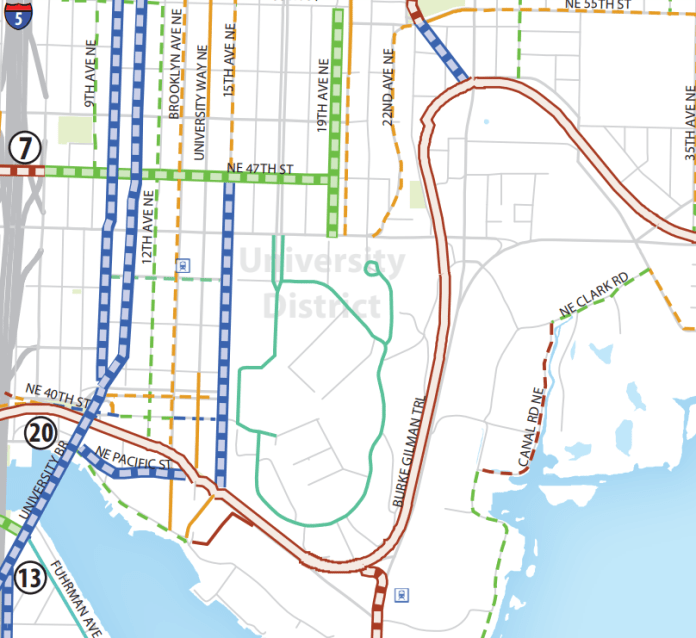 The Bicycle Master Plan's vision for the University District. (City of Seattle)
