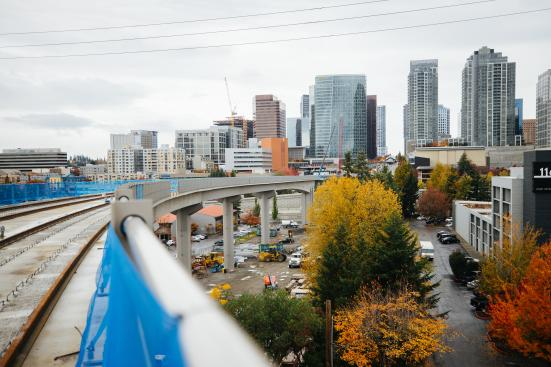 Downtown Bellevue looms in the background above the guideway leading up to Wilburton Station. (Sound Transit)