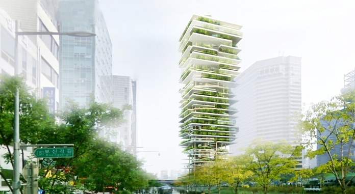 A vertical farm proposed in Seoul seeks to bring fresh organic food closer to consumers. (Courtesy of Zoubeir Azouz Architecture)