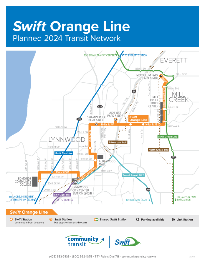 Conceptual alignment, stations, and relationship to other transit for the planned Swift Orange Line. (Community Transit)