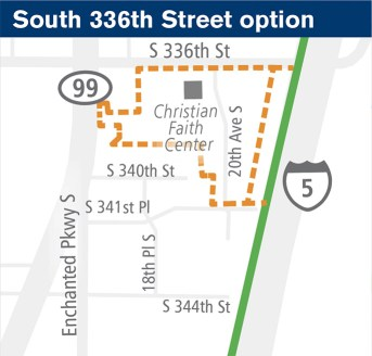 General map of the potential site at S 336th St. (Sound Transit)