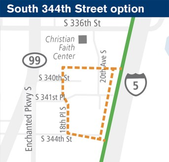General map of the potential site at S 344th St. (Sound Transit)