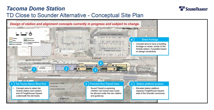 The conceptual station layout option for the Tacoma Dome Station TD Close to Sounder Alternative. (Sound Transit)